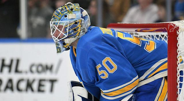 "<a class=""link rapid-noclick-resp"" href=""/nhl/players/5454/"" data-ylk=""slk:Jordan Binnington"">Jordan Binnington</a> is expected to release a statement on Wednesday. (Photo by Keith Gillett/Icon Sportswire via Getty Images)"