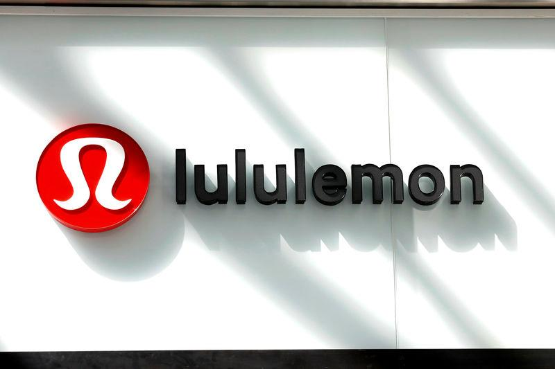 The logo for Lululemon Athletica is seen outside a retail store in New York