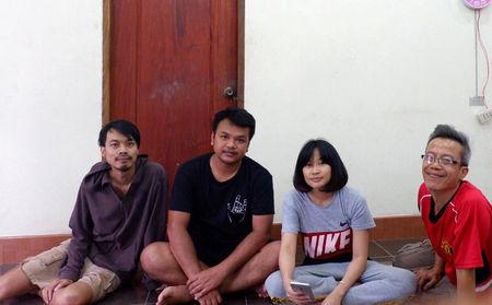 "Members of the Thai Faiyen band currently hidden in exile, pose for in this undated picture at an undisclosed location (L-R ) Nithiwat ""Jom"" Wannasiri, Worravut ""Tito"" Thueakchaiyaphum, Romcahalee ""Yammy"" Sombulrattanakul and Trairong ""Khunthong"" Sinseubpol. Faiyen Band/Handout via REUTERS"
