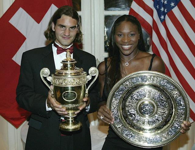 LONDON - JULY 6: (FILE PHOTO) Wimbledon Champions Roger Federer of Switzerland and Serena Williams of the U.S. pose for photographs prior to attending the Wimbledon Ball at the Savoy Hotel on July 6, 2003 in London. (Photo by Alex Livesey/Getty Images) Celebrating 125 Years Of Wimbledon Please refer to the following profile on Getty Images Archival for further imagery. https://ec.yimg.com/ec?url=http%3a%2f%2fwww.gettyimages.co.uk%2fSearch%2fSearch.aspx%3fEventId%3d115973863%26amp%3bEditorialProduct%3dArchival&t=1524279712&sig=XWVi2wEyAO4ApzZRjQw_Kg--~D Fashions http://www.gettyimages.co.uk/Search/Search.aspx?EventId=115973067&EditorialProduct=Archival For further imagery also see this lightbox http://www.gettyimages.co.uk/Account/MediaBin/LightboxDetail.aspx?Id=19295855&MediaBinUserId=3936288