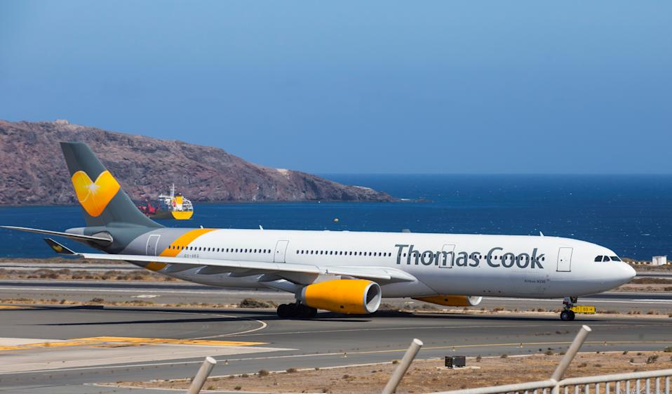 A Thomas Cook Scandinavia Airbus A330 plane takes off from Las Palmas in the Canary Islands, Spain, September 25, 2019.REUTERS/Borja Suarez
