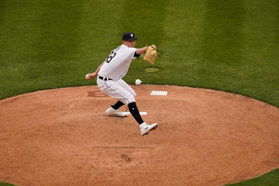 Detroit Tigers starting pitcher Matthew Boyd throws during the first inning against the Cleveland Indians on Opening Day, Thursday, April 1, 2021, at Comerica Park.