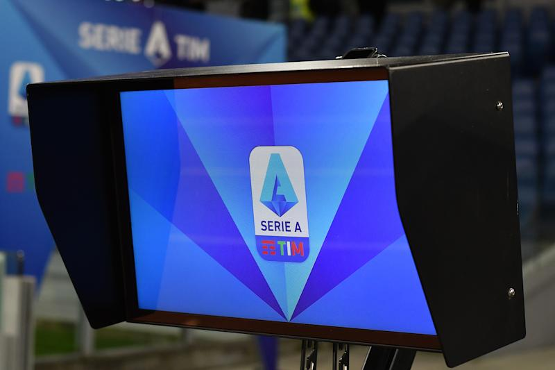STADIO OLIMPICO, ROMA, ITALY - 2020/02/05: Var monitor displays the Serie A logo prior to the football match between SS Lazio and Hellas Verona. SS Lazio and Hellas Verona drew 0-0. (Photo by Andrea Staccioli/LightRocket via Getty Images)
