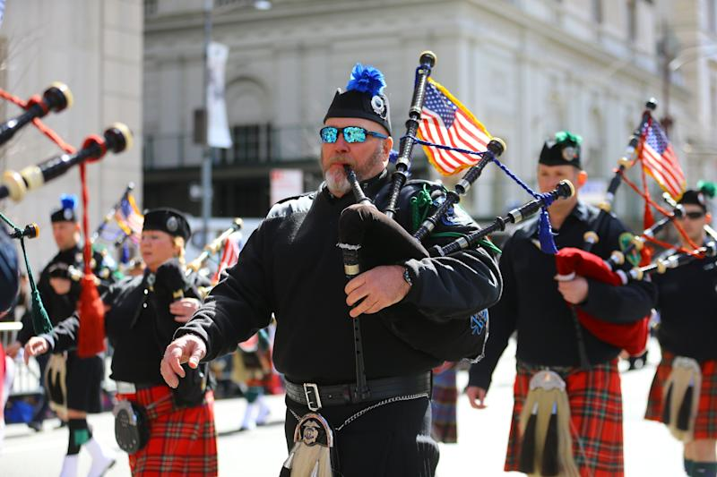 New York State Courts Pipes and Drums march during the St. Patrick's Day Parade on March 16, 2019, in New York. (Photo: Gordon Donovan/Yahoo News)