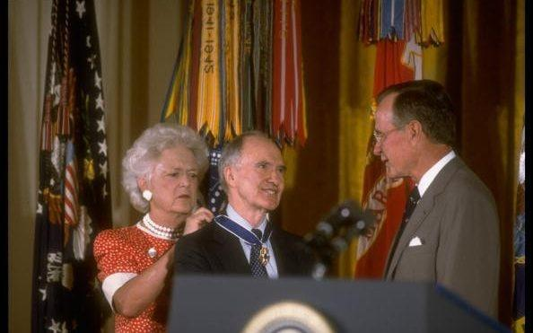 With Barbara and George Bush in 1991 receiving the US Medal of Freedom - Terry Ashe/The LIFE Images Collection via Getty Images/Getty Images