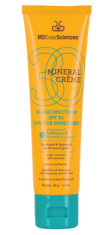 """<p><b>Active Ingredients:</b> 2% Titanium Dioxide and 17% Zinc Oxide <br>This weightless sunscreen absorbs instantly and has an invisible matte finish. The non-comedogenic formula enhanced with CoQ10, Vitamin C and E is ideal for those with sensitive skin including those with acne or rosacea. Broad-spectrum protection is water resistant with 2% Titanium Dioxide and 17% Zinc Oxide. The only downside is the 1.7 oz tube goes way too fast.<br><br><a href=""""http://www.sephora.com/mineral-tinted-cr-me-broad-spectrum-spf-30-uva-uvb-sunscreen-P383593"""" rel=""""nofollow noopener"""" target=""""_blank"""" data-ylk=""""slk:MDSolarSciences Mineral Crème SPF 30"""" class=""""link rapid-noclick-resp"""">MDSolarSciences Mineral Crème SPF 30 </a>($32)</p>"""