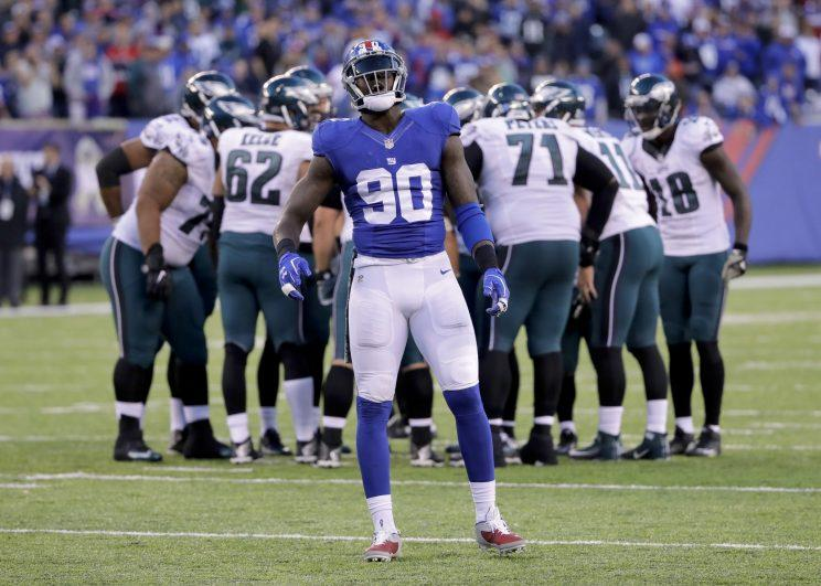 Jason Pierre-Paul will miss the rest of the regular season after surgery. (AP)