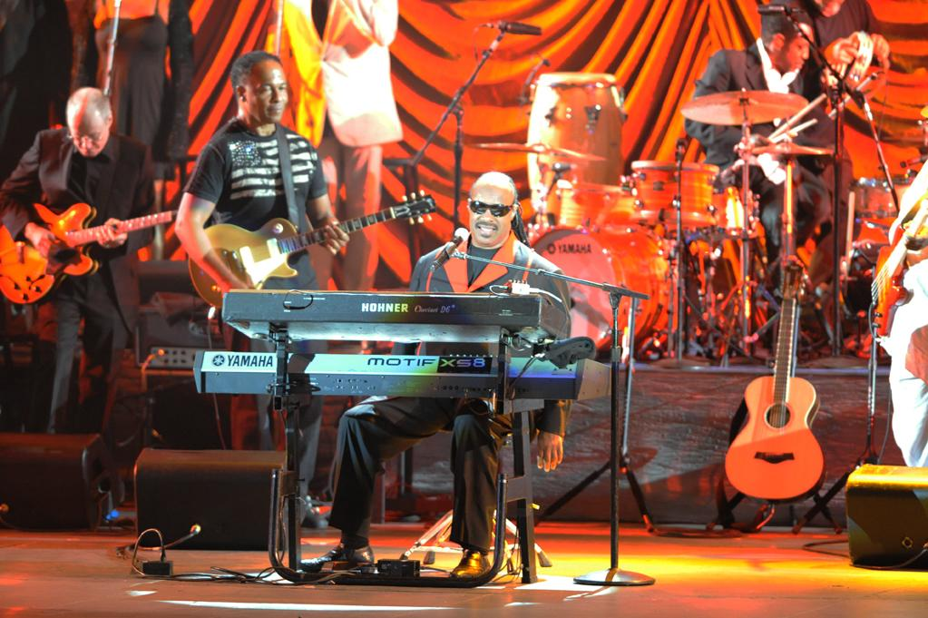 "Stevie Wonder performs at the ""A Decade of Difference"" concert on October 15, 2011, at the Hollywood Bowl, Los Angeles. <br><br>(Photo by Stephanie Cabral/Yahoo!)"