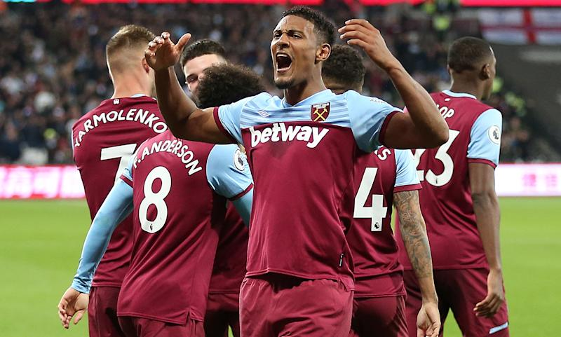 Haller celebrates. (Photo by Nigel French/EMPICS/PA Images via Getty Images)