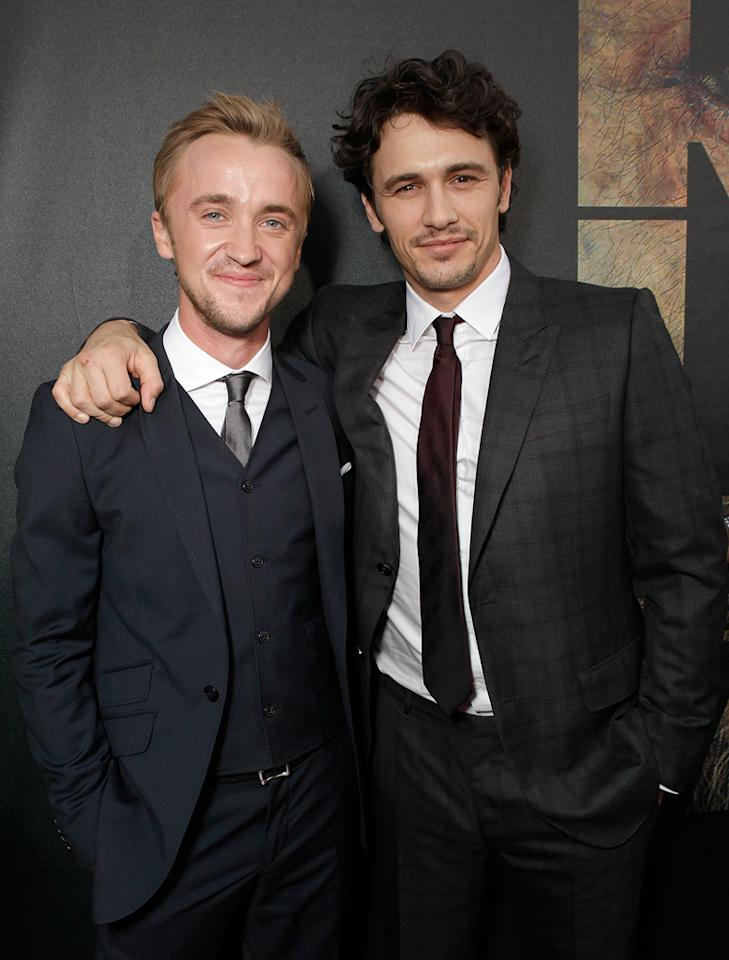 """<a href=""""http://movies.yahoo.com/movie/contributor/1800308596"""">Tom Felton</a> and <a href=""""http://movies.yahoo.com/movie/contributor/1800352352"""">James Franco</a> at the Los Angeles premiere of <a href=""""http://movies.yahoo.com/movie/1810204226/info"""">Rise of the Planet of the Apes</a> on July 28, 2011."""