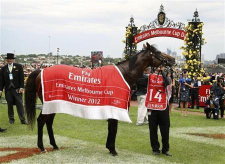 Green Moon is led around the yard after winning the Melbourne Cup at the Flemington race course in Melbourne November 6, 2012. REUTERS/Brandon Malone
