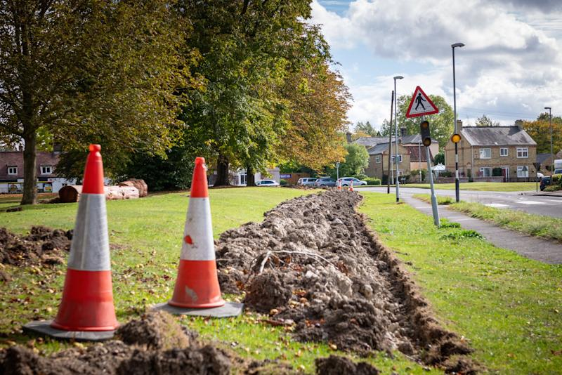 The parish council in Swaffham Bulbeck, Cambridgeshire, has dug trenches to keep out travellers (Picture: SWNS)