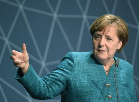 German Chancellor Angela Merkel delivers her speech at 10th National Maritime conference in Hamburg