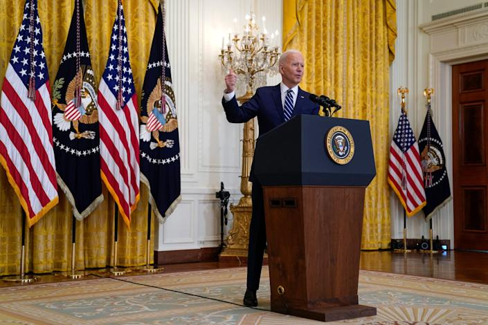 President Joe Biden speaks during a news conference in the East Room of the White House, Thursday, March 25, 2021, in Washington.