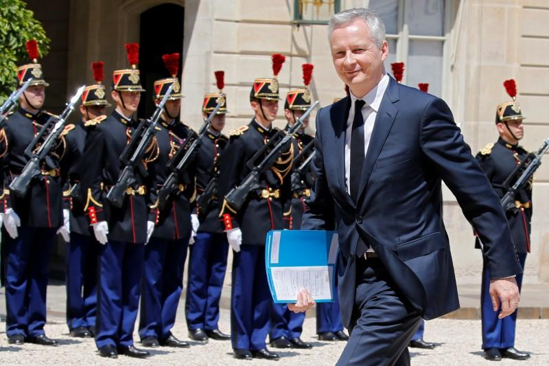 French Finance Minister Bruno Le Maire arrives at the Elysee Palace in Paris