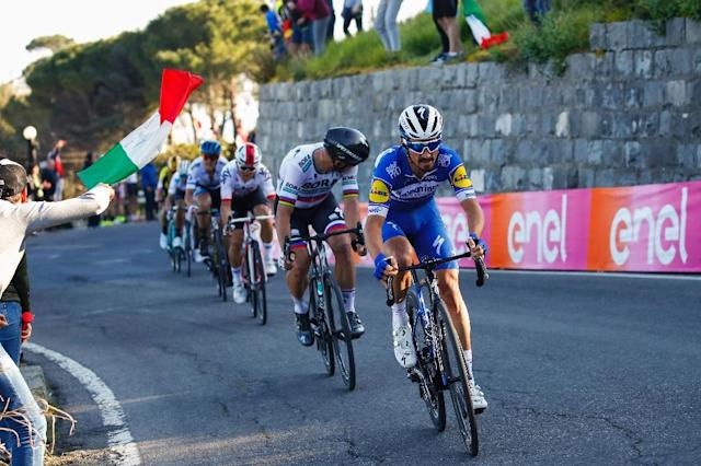 Julian Alaphilippe, seen here winning MIlan San Remo, won stage 2 of the Tour of the Basque Country (AFP Photo/Luca Bettini)
