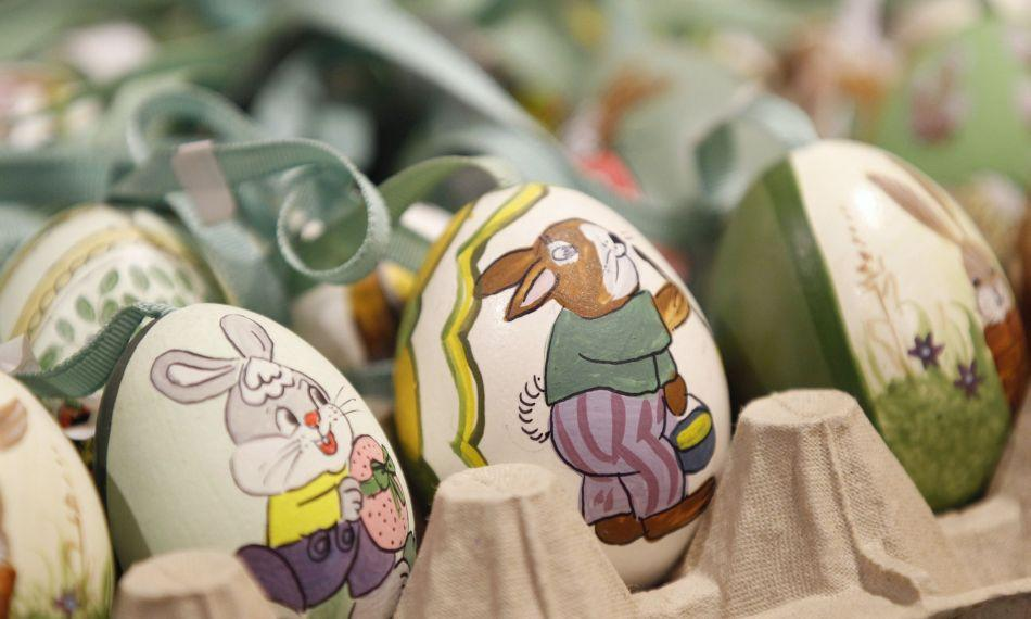 Easter eggs are seen at an Easter market in the western Austrian city of Innsbruck