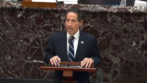 PHOTO: House impeachment manager Rep. Jamie Raskin, D-Md., speaks during the second impeachment trial of former President Donald Trump in the Senate at the Capitol in Washington, Feb. 13, 2021. (AP)