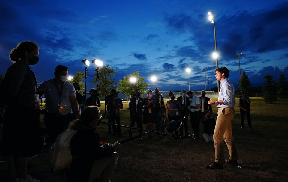"""<span class=""""caption"""">Liberal Leader Justin Trudeau speaks to media near Brampton, Ont. while on the campaign trail.</span> <span class=""""attribution""""><span class=""""source"""">THE CANADIAN PRESS/Sean Kilpatrick </span></span>"""