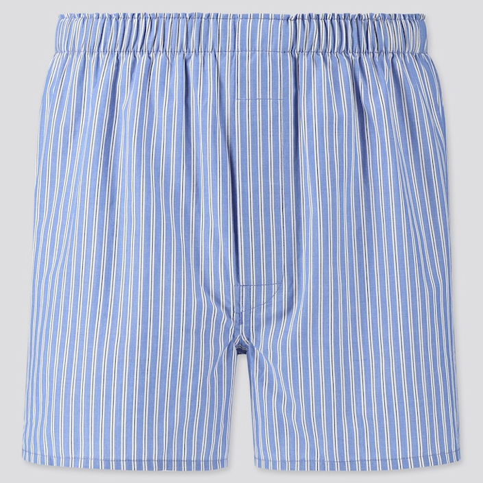 """Thank quarantine for making men's boxers acceptable for both inside <em>and</em> outside wear. <br> <br> <strong>Uniqlo</strong> Woven Striped Boxers, $, available at <a href=""""https://go.skimresources.com/?id=30283X879131&url=https%3A%2F%2Fwww.uniqlo.com%2Fus%2Fen%2Fmen-woven-striped-boxers-423855COL64SMA004000.html"""" rel=""""nofollow noopener"""" target=""""_blank"""" data-ylk=""""slk:Uniqlo"""" class=""""link rapid-noclick-resp"""">Uniqlo</a>"""