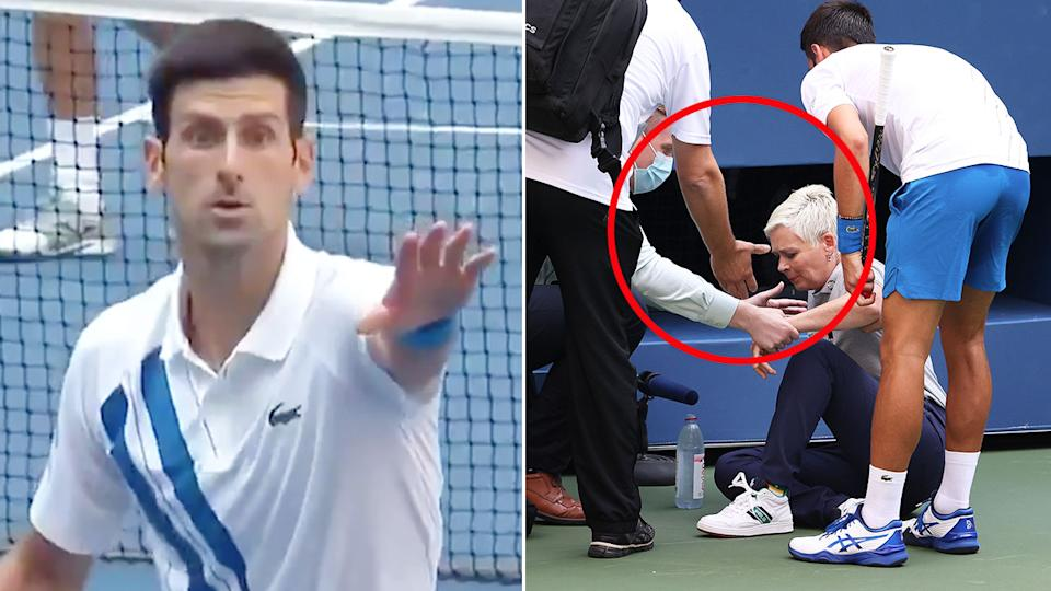 Novak Djokovic looked shocked after hitting a tennis ball straight at a female line judge.
