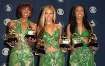 "<p>After scoring two nominations for ""Bills, Bills, Bills"" the year prior, at the 2001 Grammys, Destiny's Child took home two awards — both for their hit song ""Say My Name."" The girl group, comprised of Beyoncé Knowles, Kelly Rowland and Michelle Williams, was nominated for five awards, winning prizes for best R&B performance by a group and best R&B song. </p> <p><strong>Beyoncé's Grammy Tally:</strong> 2</p>"