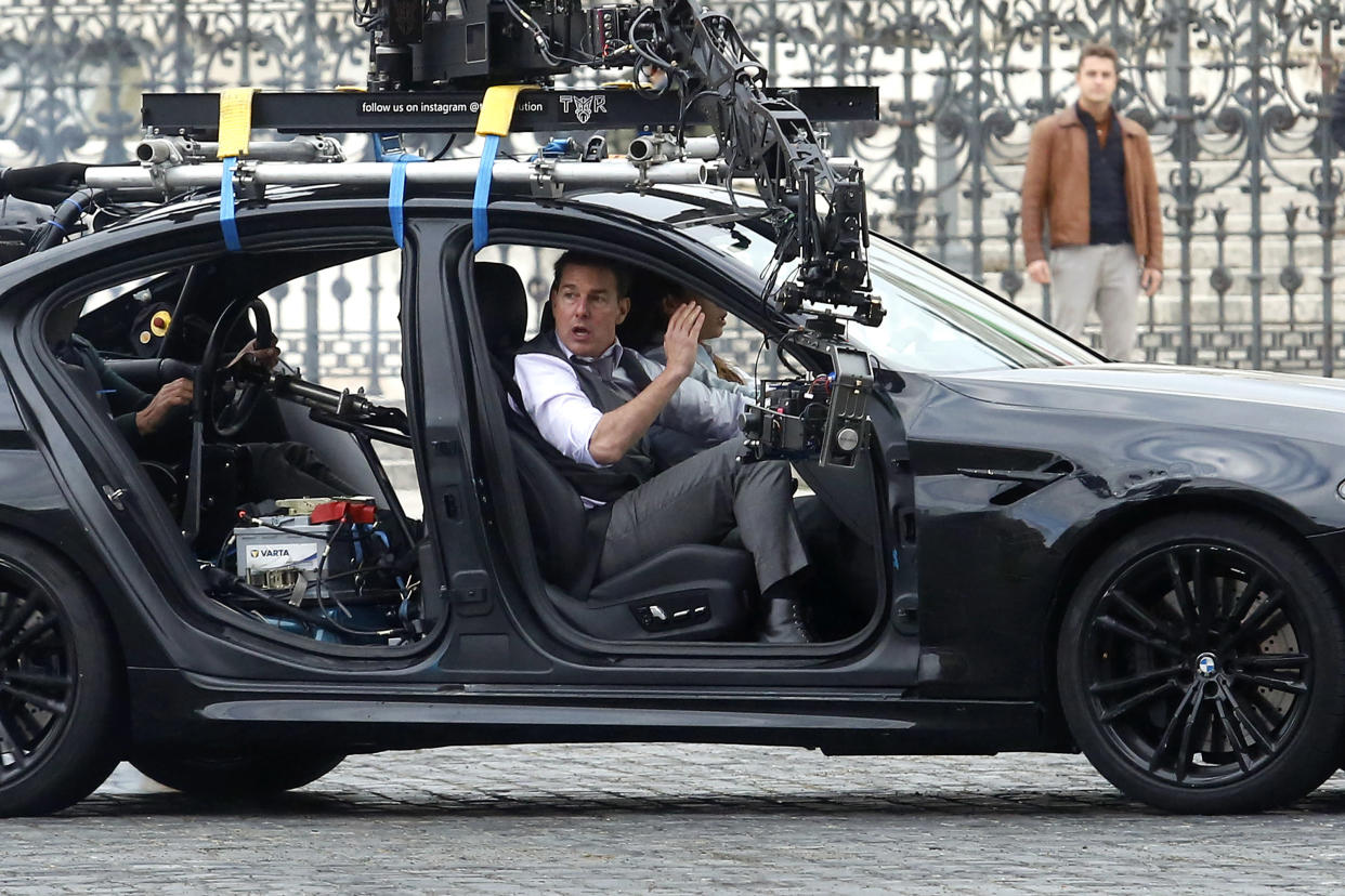 Actor Tom Cruise and actress Hayley Atwell handcuffed together filming a thrilling chase with cars on the set of the film Mission Impossible 7 in Piazza Venezia, just in front of the Victor Emmanuel II Monument (Tomb of the Unknown Soldier). Rome (Italy), November 29th 2020 (Photo by Samantha Zucchi/Insidefoto/Mondadori Portfolio via Getty Images)