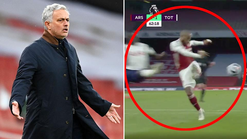 Seen here, Spurs manager Jose Mourinho looks on in frustration against Arsenal.
