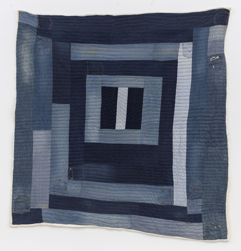"""<p>As part of its presentation at Frieze New York this year, Nicelle Beauchene Gallery showcased the work of the <a href=""""https://www.soulsgrowndeep.org/gees-bend-quiltmakers"""" rel=""""nofollow noopener"""" target=""""_blank"""" data-ylk=""""slk:Gee's Bend Quiltmakers"""" class=""""link rapid-noclick-resp"""">Gee's Bend Quiltmakers</a>, a generations-old group of Black women quilters in rural Alabama. Andrea Williams, part of the newer generation of quilt artists, repurposed old denim workwear to make her """"Housetop"""" (a pattern of concentric squares) quilt. And it's a delight to behold in its patchwork of indigo fabric, with the pockets, rips, and even a Fubu tab left visible.</p>"""