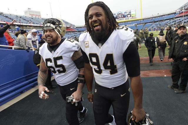 "New Orleans Saints superstar defensive end Cameron Jordan has achieved the football ""triple-double,"" which hasn't happened since J.J. Watt did so in 2014 .(AP Photo/Adrian Kraus)"