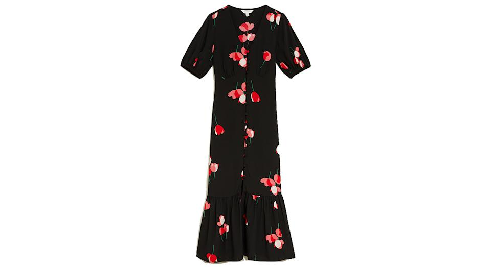 Floral V-Neck Button Through Midi Tea Dress