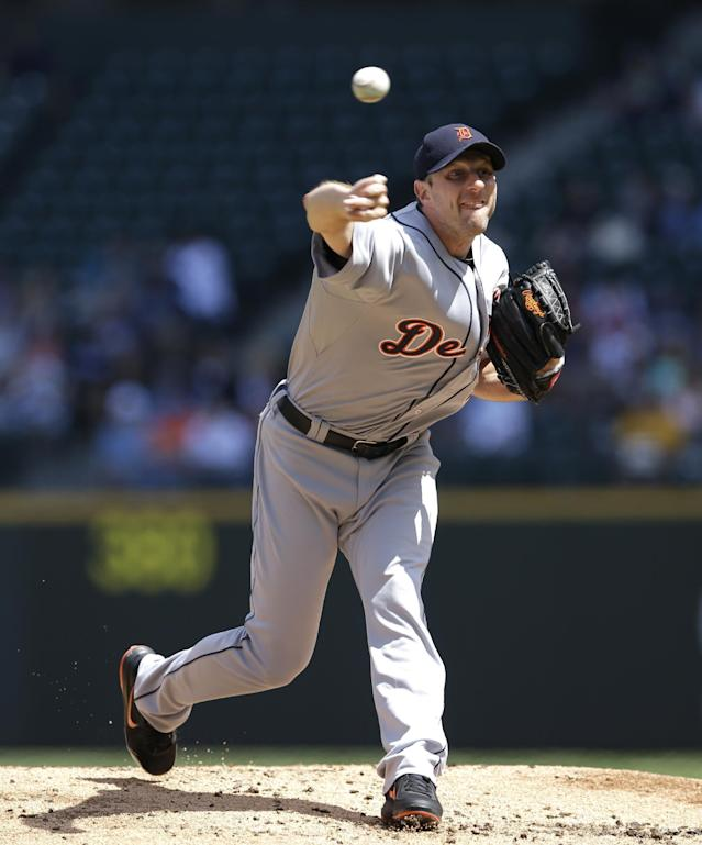 Detroit Tigers starting pitcher Max Scherzer throws against the Seattle Mariners in the second inning of a baseball game, Sunday, June 1, 2014, in Seattle. (AP Photo/Ted S. Warren)