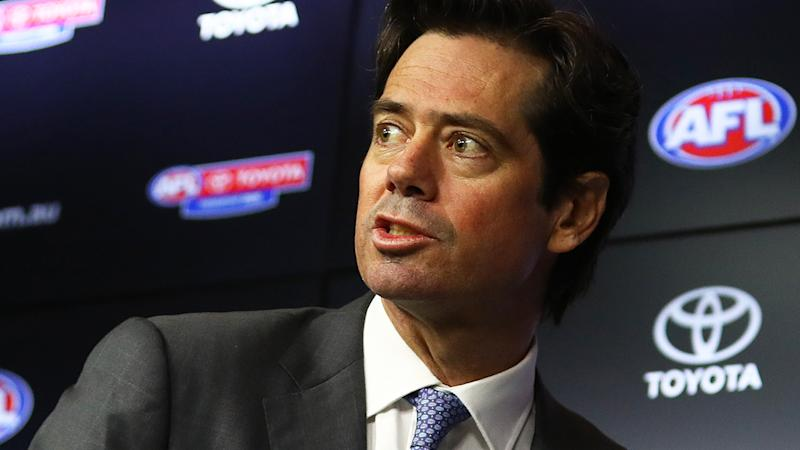 AFL chief Gillon McLachlan and the AFL Players' Association have agreed to terms on a pay cut for players during the coronavirus shutdown. (Photo by Robert Cianflone/Getty Images)
