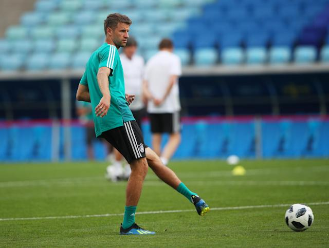 Soccer Football - World Cup - Germany Training - Fisht Stadium, Sochi, Russia - June 22, 2018 Germany's Thomas Muller during training REUTERS/Hannah McKay