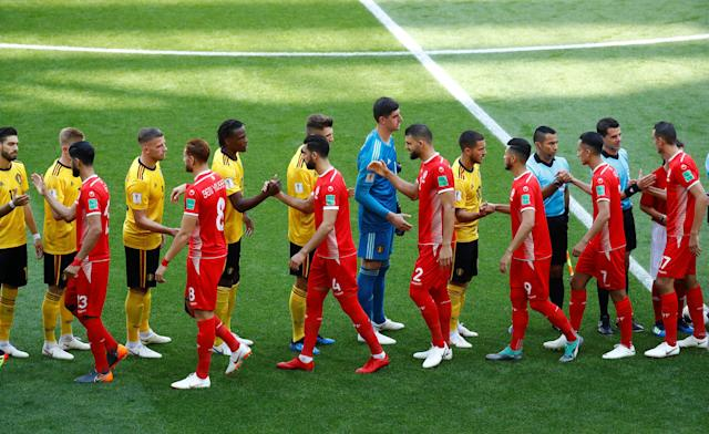 Soccer Football - World Cup - Group G - Belgium vs Tunisia - Spartak Stadium, Moscow, Russia - June 23, 2018 Players shake hands before the match REUTERS/Kai Pfaffenbach