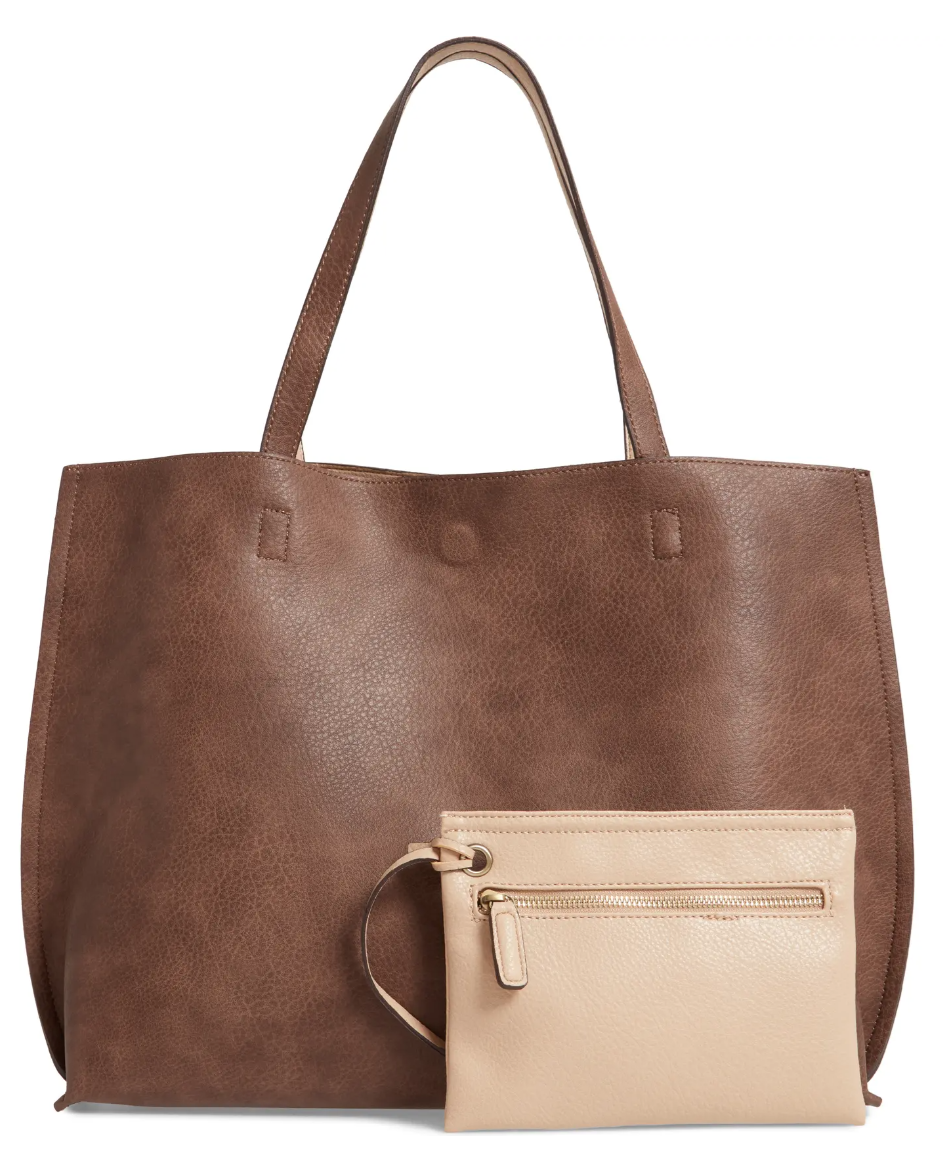 Street Level Reversible Faux Leather Tote & Wristlet in Taupe/Ivory