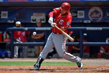 Mar 27, 2017; Port St. Lucie, FL, USA; Washington Nationals second baseman Stephen Drew (10) singles against the New York Mets during a spring training game at First Data Field. Mandatory Credit: Jasen Vinlove-USA TODAY Sports