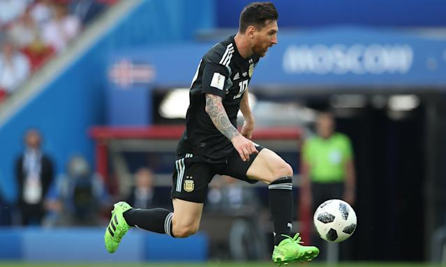Lionel Messi of Argentina controls the ball in the 1-1 draw against Iceland in which he had a penalty saved.