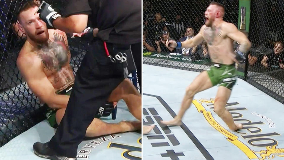 Conor McGregor, pictured here appearing to break his ankle at UFC 264.