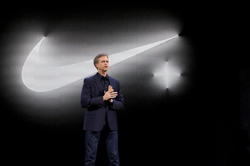 Nike CEO Mark Parker speaks during a news conference, Wednesday, March 16, 2016, in New York. (AP Photo/Mary Altaffer)
