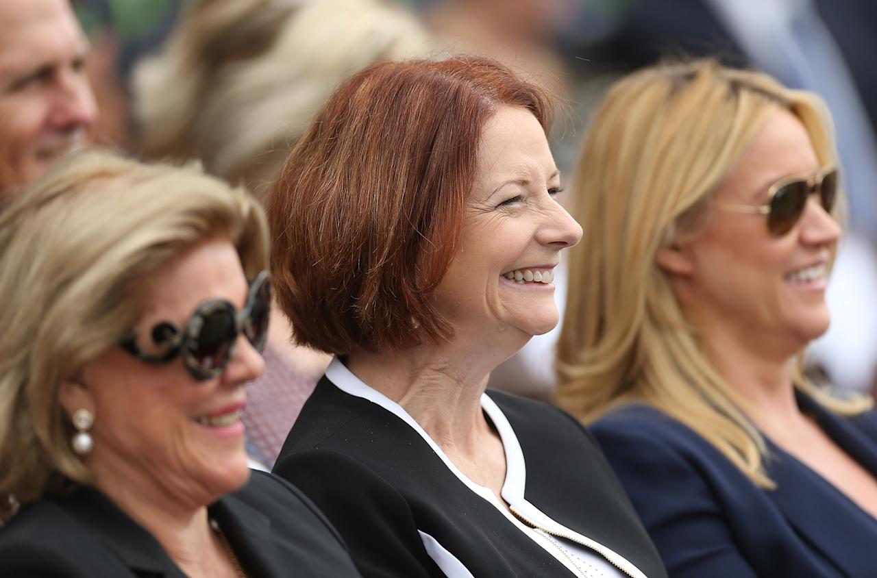 SYDNEY, AUSTRALIA - JANUARY 20: (L-R)   Roslyn Packer, Australian Prime Minister, Julia Gillard and Leila Mckinnon smile during the Tony Greig memorial service at Sydney Cricket Ground on January 20, 2013 in Sydney, Australia.  (Photo by Mark Metcalfe/Getty Images)