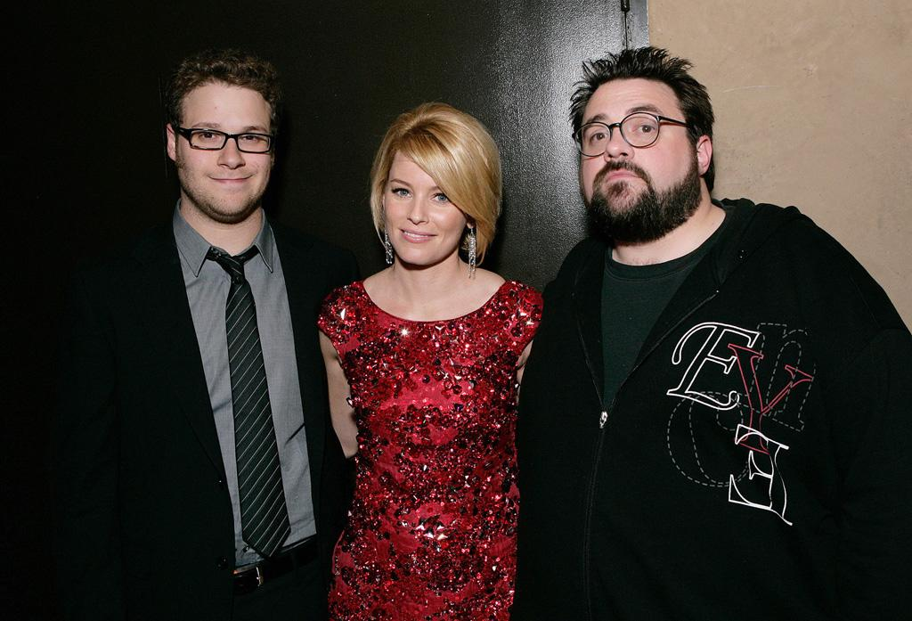 """<a href=""""http://movies.yahoo.com/movie/contributor/1804494942"""">Seth Rogen</a>, <a href=""""http://movies.yahoo.com/movie/contributor/1807816351"""">Elizabeth Banks</a> and director <a href=""""http://movies.yahoo.com/movie/contributor/1800020930"""">Kevin Smith</a> at the Los Angeles premiere of <a href=""""http://movies.yahoo.com/movie/1809958867/info"""">Zack and Miri Make a Porno</a> - 10/20/2008"""
