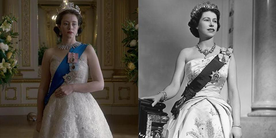 <p>While both The Crown and the Queen's royal portrait dresses were elegant and regal, there were quite a few differences. Both were adorned with the monarch's sash and medals, but the show's lace design was much softer than Queen Elizabeth's satin embroidered gown. </p>