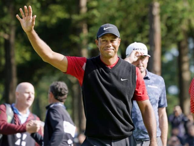 Tiger Woods celebrates to win the final round of the Zozo Championship, a PGA Tour event, at Narashino Country Club in Inzai, Japan