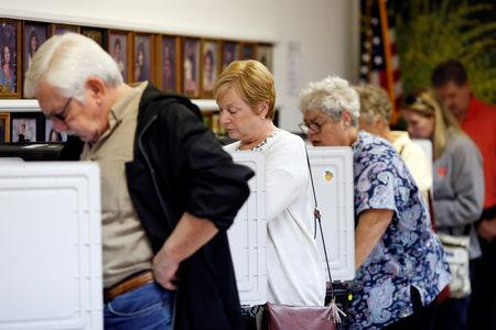 People cast their votes in the midterm elections at the Winterville Train Depot in Winterville