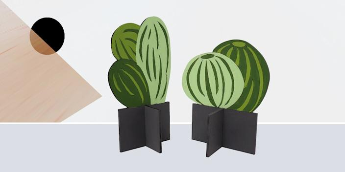 """<div class=""""caption""""> When the weather outside is frightful, paint yourself a plywood plant that will never die, no matter how long you ignore it. <br> <a href=""""https://scoutregalia.com/products/sr-flat-plants"""" rel=""""nofollow noopener"""" target=""""_blank"""" data-ylk=""""slk:SHOP NOW"""" class=""""link rapid-noclick-resp"""">SHOP NOW</a>: Flat Plant Paint By Numbers Kit by Scout Regalia, from $40, scoutregalia.com<br> </div> <cite class=""""credit"""">Photo courtesy of AHA Life</cite>"""
