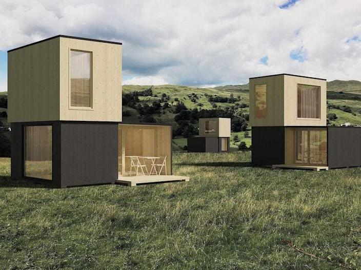 Tiny home village made up of two-story Brette Haus homes.