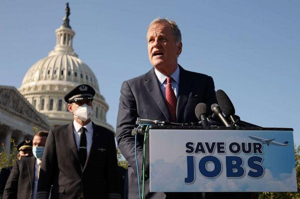 PHOTO: American Airlines CEO Doug Parker joins fellow airline executives, union heads and politicians, outside the U.S. Capitol, Sept. 22, 2020, in Washington. (Chip Somodevilla/Getty Images)