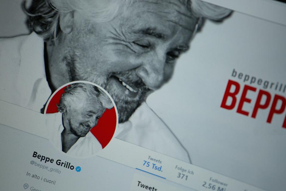 The twitter profile of Beppe Grillo is seen on a screen. (Photo by Alexander Pohl/NurPhoto via Getty Images) (Photo: NurPhoto via Getty Images)