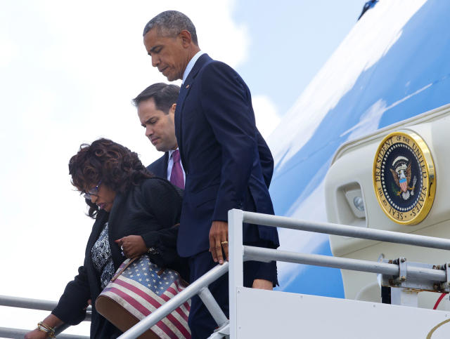 <p>President Obama, Rep. Corrine Brown, D-Fla., and Sen. Marco Rubio, R-Fla., leave Air Force One upon their arrival at Orlando International Airport, June 16, 2016. (AP/Pablo Martinez Monsivais) </p>